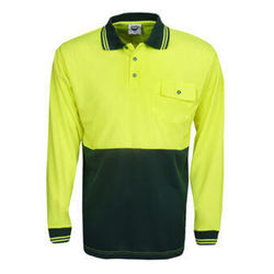 Hi Vis Polo Shirt Long Sleeve Yellow/Bottle
