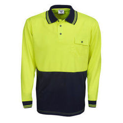 Hi Vis Polo Shirt Long Sleeve YellowNavy