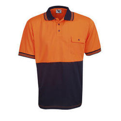 Hi Vis Polo Shirt Short Sleeve Orange/Navy