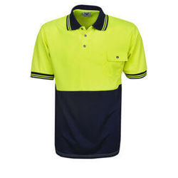 Hi Vis Polo Shirt Short Sleeve Yellow/Navy