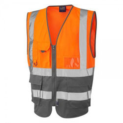 Hi Vis Superior Vest Two Tone Orange/Grey