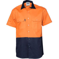 Hi Vis Two Tone Cool-Breeze Cotton Shirt - Short Sleeve Orange/Navy