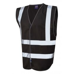 Hi Vis Warden Vest Rear Print Black