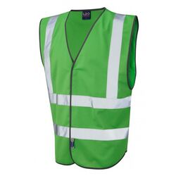 Hi Vis Warden Vest Rear Print Green
