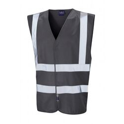Hi Vis Warden Vest Rear Print Grey