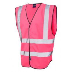 Hi Vis Warden Vest Rear Print Pink