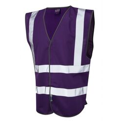 Hi Vis Warden Vest Rear Print Purple