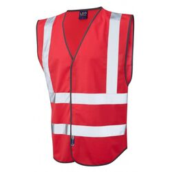 Hi Vis Warden Vest Rear Print Red