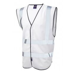 Hi Vis Warden Vest Rear Print White