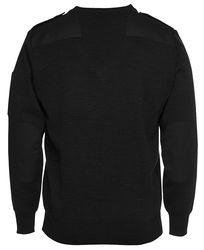 Knitted Epaulette Jumper Black