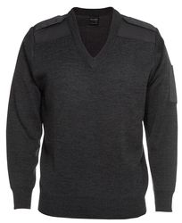 Knitted Epaulette Jumper Charcoal