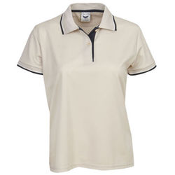 Ladies Cooldry Micro Mesh Polo Beige/Navy/White