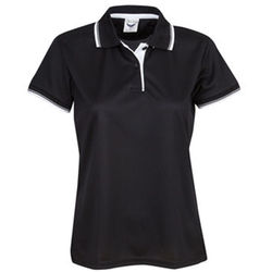 Ladies Cooldry Micro Mesh Polo Black/White/Silver
