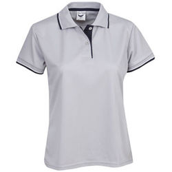 Ladies Cooldry Micro Mesh Polo Silver/Navy/White
