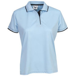 Ladies Cooldry Micro Mesh Polo Sky/Navy/White