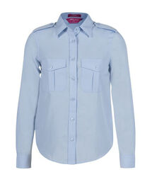 Ladies Long Sleeve Epaulette Shirt Blue