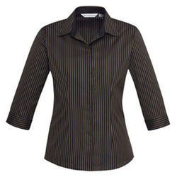 Ladies Reno Stripe 34 Sleeve Shirt Copper Gold
