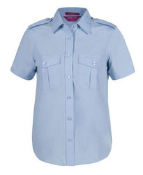 Ladies Short Sleeve Epaulette Shirt Blue
