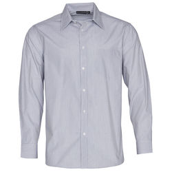 Men+039s Fine Stripe Long Sleeve Shirt Silver Grey