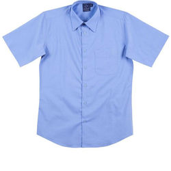 Men+39s Teflon Executive Short Sleeve Shirt Mid Blue