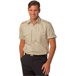 Menand39s Short Sleeve Military Shirt Sand