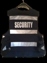 Multi Pocket Security Vest 3M Hi Vis Tape Navy Back