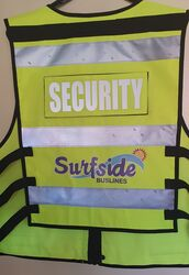 Multi Pocket Security Vest 3M Hi Vis Tape Yellow Rear logo