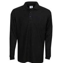 Premium Long Sleeve Pique Polo Black