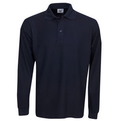 Premium Long Sleeve Pique Polo Navy