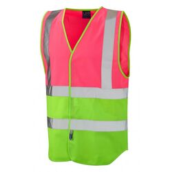 Superior Dual Coloured Reflective Vest Pink/Lime