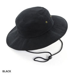 Wide Brim Hat heavy brushed cotton with metal eyelets Black