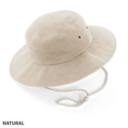 Wide Brim Hat heavy brushed cotton with metal eyelets Natural