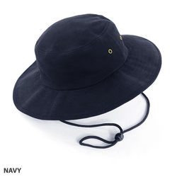 Wide Brim Hat heavy brushed cotton with metal eyelets Navy